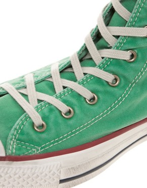 Image 2 ofConverse All Star Washed Mint High Top Trainers