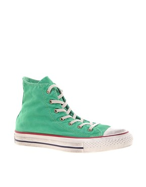Image 1 ofConverse All Star Washed Mint High Top Trainers
