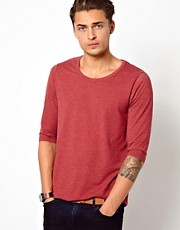 ASOS - T-shirt con maniche a 3/4 e scollo rotondo con bordatura risvoltata