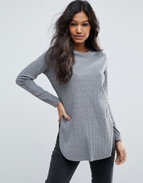 ASOS Long Sleeve Top with Side Splits and Curve Hem
