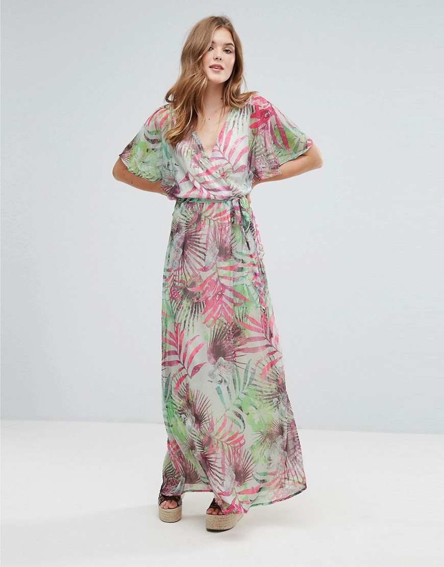 Lavand Kimono Sleeve Maxi Dress In Palm Print - G
