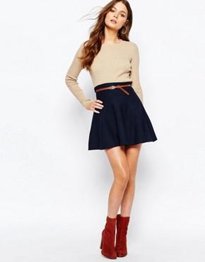New Look Belted Skater Skirt