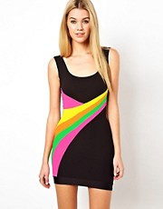 Quontum Neon Panelled Bodycon Dress