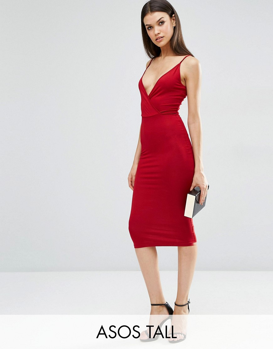 ASOS TALL Strappy Back Wrap Front Midi Bodycon Dress - Red