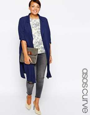 ASOS CURVE Duster Jacket in Lightweight Crepe