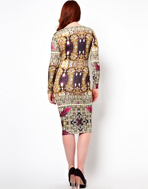 Image 2 ofASOS CURVE Bodycon Dress in Jewel Print