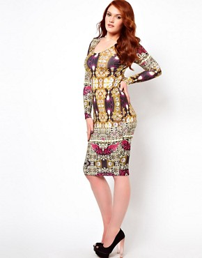 Image 4 ofASOS CURVE Bodycon Dress in Jewel Print