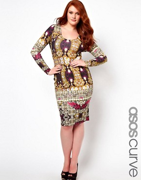 Image 1 ofASOS CURVE Bodycon Dress in Jewel Print