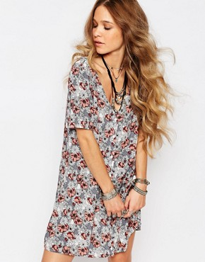 Glamorous Button Front Tea Dress In Daisy Festival Print