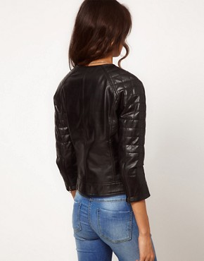 Image 2 ofASOS Square Quilted Leather Collarless Bomber Jacket