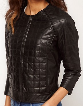 Image 3 ofASOS Square Quilted Leather Collarless Bomber Jacket