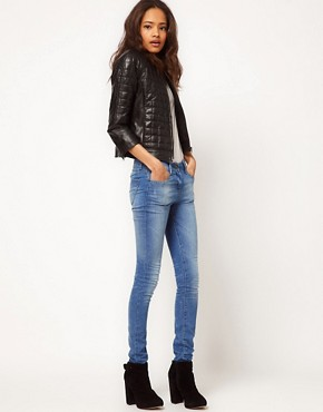 Image 4 ofASOS Square Quilted Leather Collarless Bomber Jacket