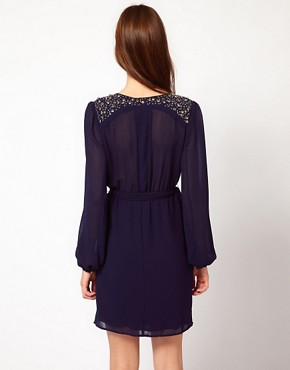 Image 2 ofWarehouse Jewel Shoulder Wrap Dress