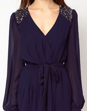 Image 3 ofWarehouse Jewel Shoulder Wrap Dress