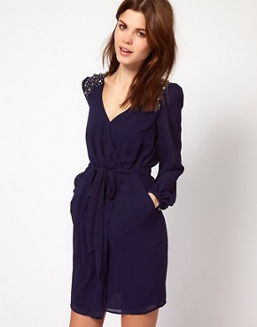 Image 1 ofWarehouse Jewel Shoulder Wrap Dress