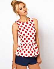 ASOS Sleeveless Top With Peplum In Spot Print
