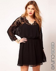 Vestido skater con top de encaje y cuello festoneado de ASOS CURVE