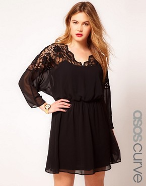 Image 1 ofASOS CURVE Skater Dress With Lace Top And Scallop Neck