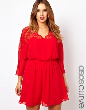 Image 1 of ASOS CURVE Skater Dress With Lace Top And Scallop Neck