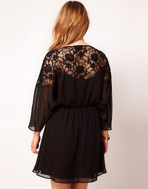Image 2 of ASOS CURVE Skater Dress With Lace Top And Scallop Neck