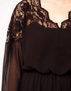 Image 3 of ASOS CURVE Skater Dress With Lace Top And Scallop Neck