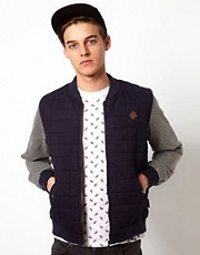 Bellfield Quilted Bomber With Contrast Sleeves