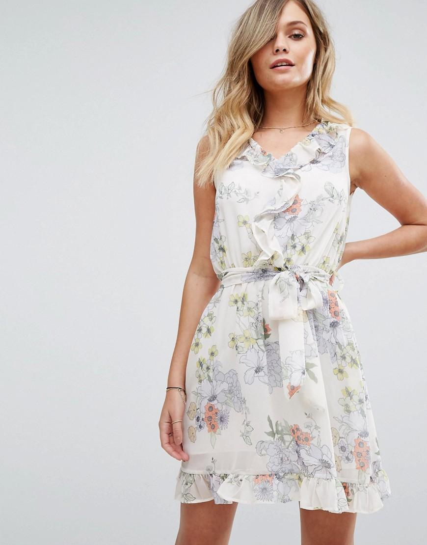 Miss Selfridge Floral Wrap Tea Dress - Multi