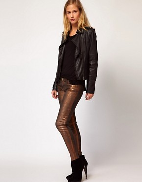 Image 1 of Current/ Elliot Stiletto Jean In Coated Bronze Foil