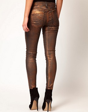 Image 2 of Current/ Elliot Stiletto Jean In Coated Bronze Foil