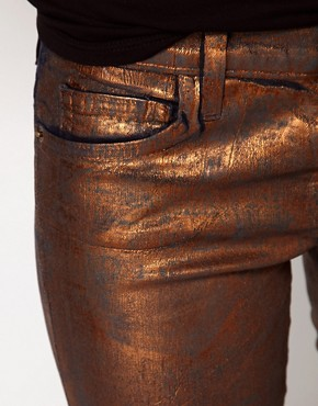 Image 3 of Current/ Elliot Stiletto Jean In Coated Bronze Foil