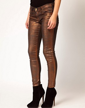 Image 4 of Current/ Elliot Stiletto Jean In Coated Bronze Foil