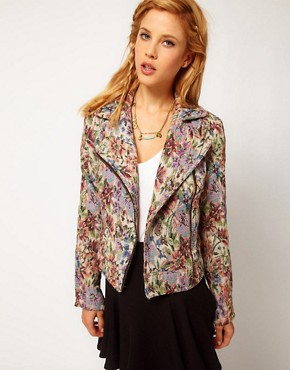 Image 1 ofFree People Floral Tapestry Biker Jacket