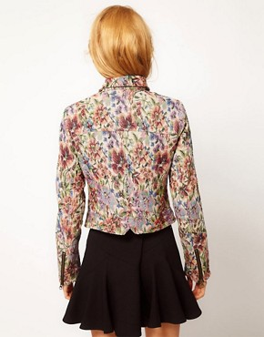 Image 2 ofFree People Floral Tapestry Biker Jacket