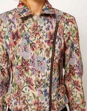 Image 3 ofFree People Floral Tapestry Biker Jacket
