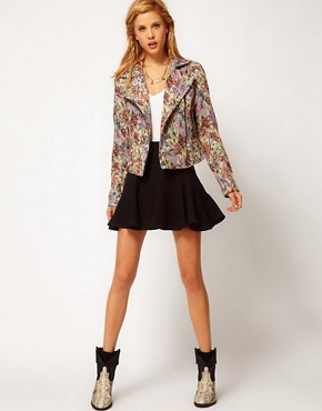 Image 4 ofFree People Floral Tapestry Biker Jacket