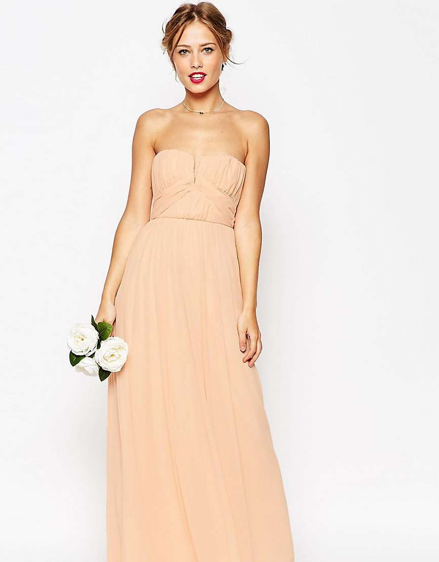 ASOS PETITE WEDDING Ruched Bodice Bandeau Maxi Dress - Pink