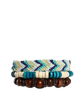 Image 1 of ASOS Bead And Woven Bracelet Pack