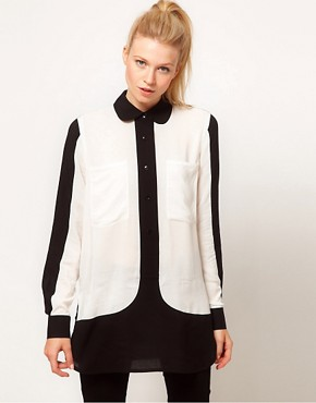 Image 1 ofASOS Shirt With Monochrome Colourblocking
