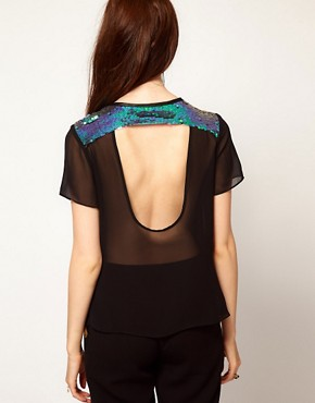 Image 2 ofLashes Of London Backless T Shirt in Mermaid Sequin