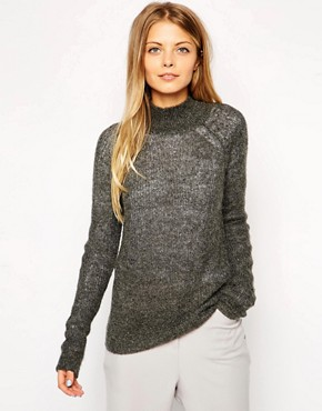 ASOS Ribbed Jumper With High Neck In Mohair