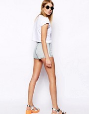 ASOS High Waist Hot Pants in Acid Wash