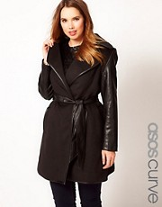 ASOS CURVE Exclusive Belted Coat with PU Sleeves