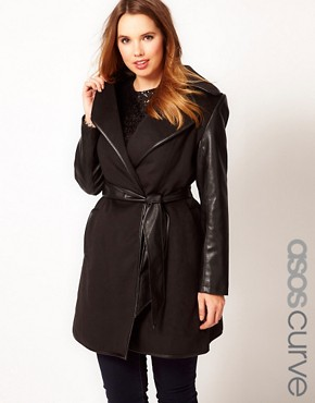 Image 1 ofASOS CURVE Exclusive Belted Coat with PU Sleeves