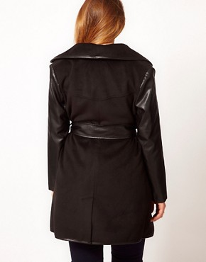 Image 2 of ASOS CURVE Exclusive Belted Coat with PU Sleeves