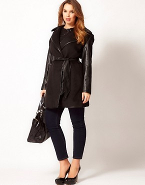 Image 4 ofASOS CURVE Exclusive Belted Coat with PU Sleeves