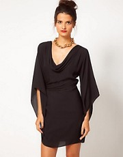 Halston Hertiage Long Sleeve Dress With Cowl Neck