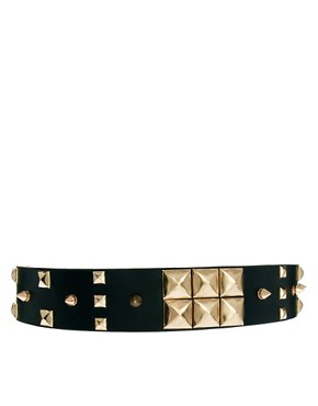 Image 1 ofASOS Mix Stud Wide Waist Belt