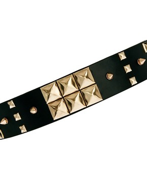 Image 2 ofASOS Mix Stud Wide Waist Belt