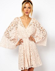 ASOS Lace Dress With Kimono Sleeve