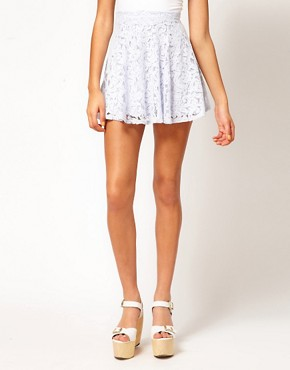 Image 4 ofRiver Island Blue Lace Skater Skirt